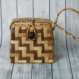 Vintage 1950s-60s Straw Wicker Basket Box Purse